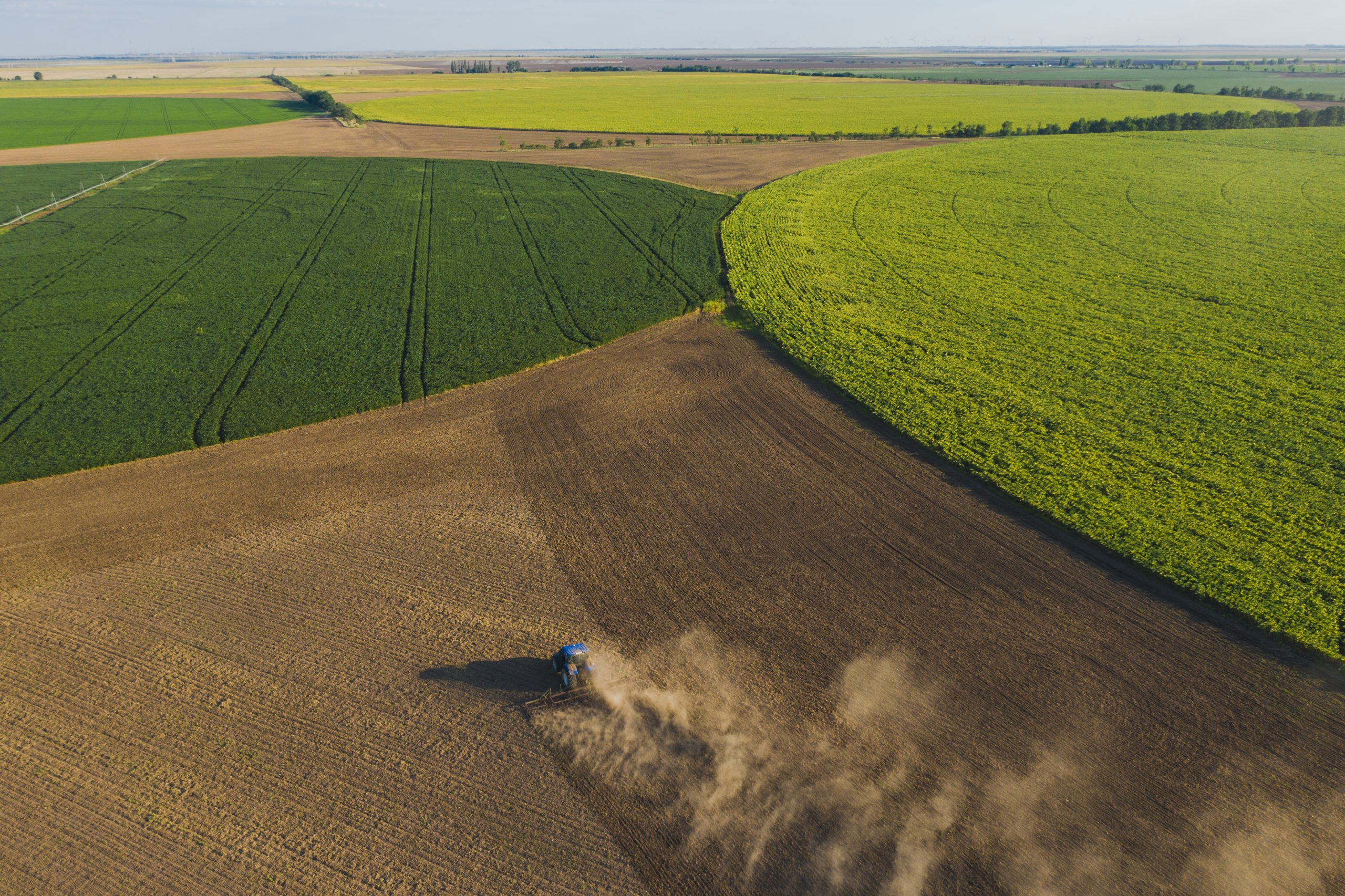 Aerial view of tractor on agriculture field